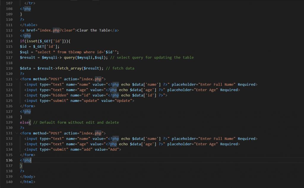 PHP MySQL Create Read Update Delete Function