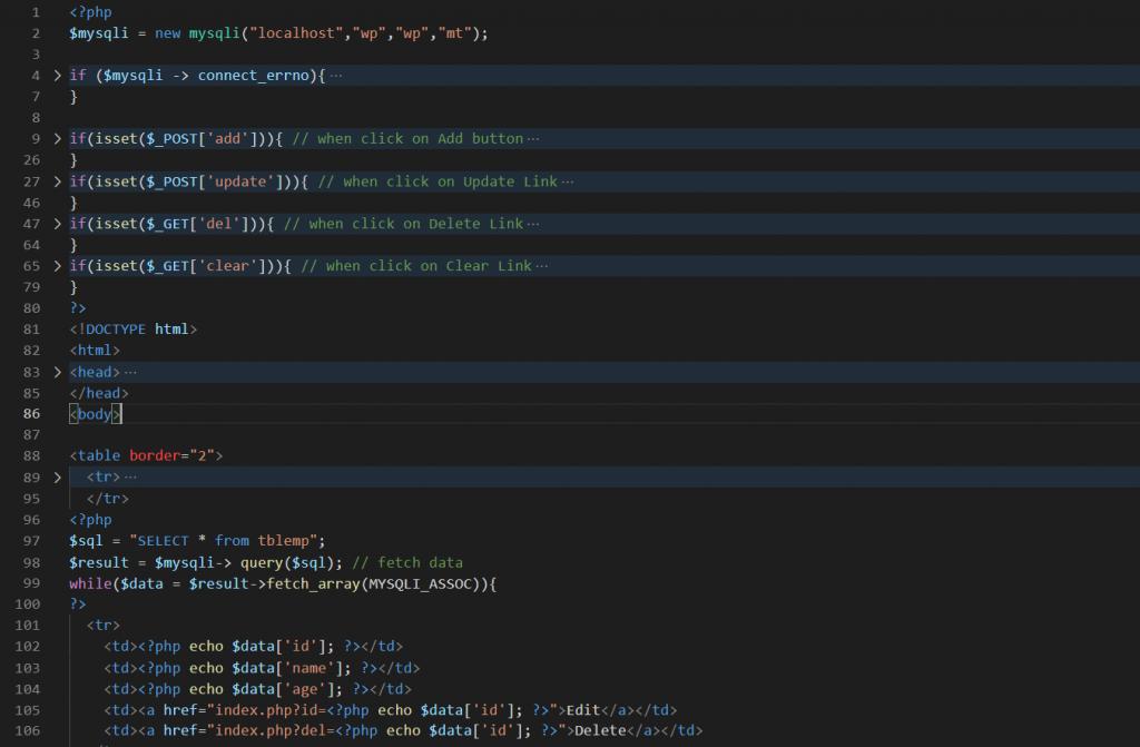 Simple PHP CRUD Operation Code Idea